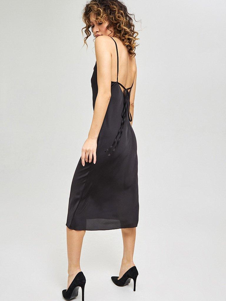 Czarna sukienka midi na ramiączkach z wiązaniem na plecach Katarina Ivanenko (zdjęcie 5)