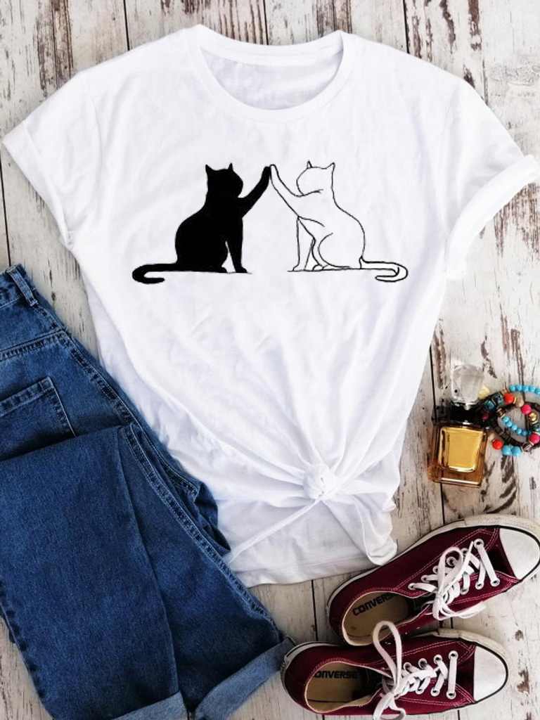 T-shirt biały Black&White Love&Live