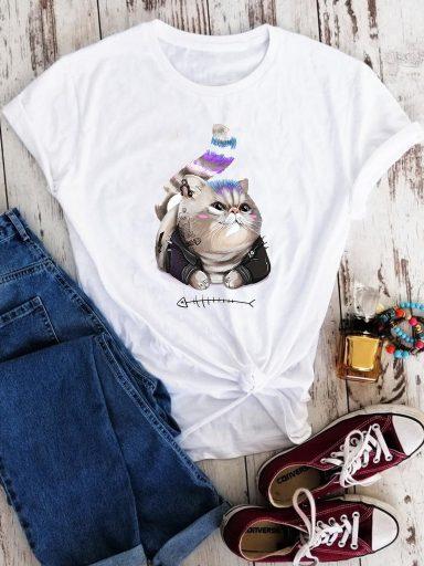 T-shirt biały Cool cat Love&Live