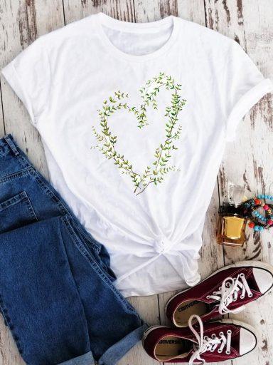 T-shirt biały Green heart Love&Live