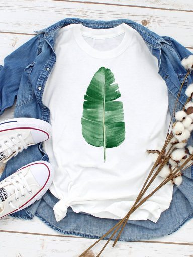 T-shirt biały Green Leaf ZUZU
