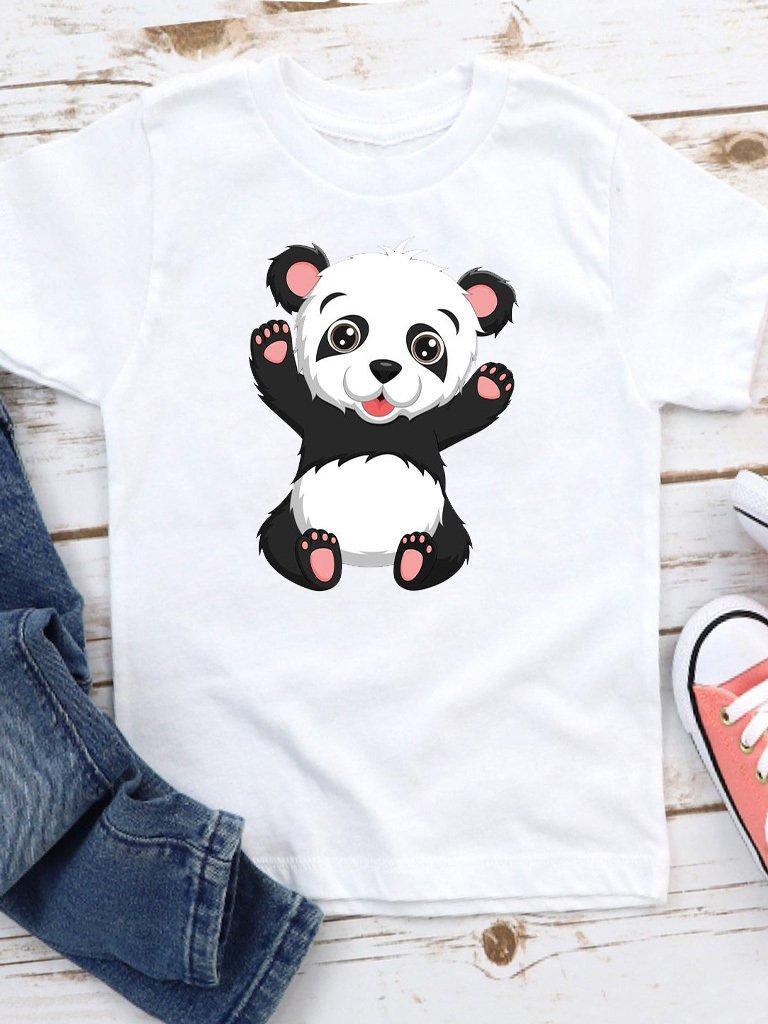 T-shirt biały dla dzieci Happy panda Love&Live