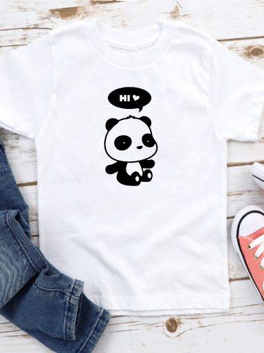 T-shirt biały dla dzieci Hi, panda! Love&Live