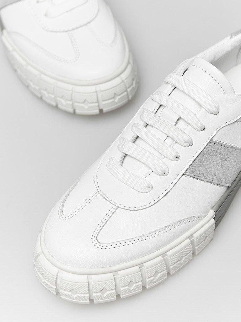 Białe skórzane trampki z zamszowymi szarymi wstawkami Love&Live (zdjęcie 2)