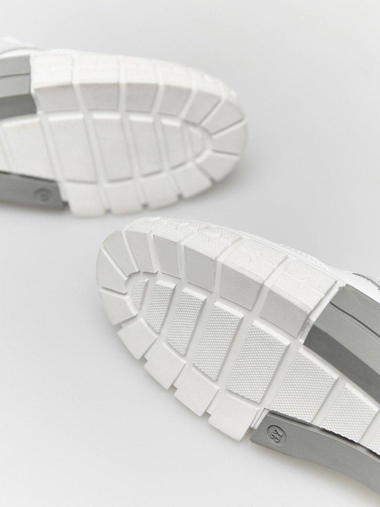 Białe skórzane trampki z zamszowymi szarymi wstawkami Love&Live (zdjęcie 3)