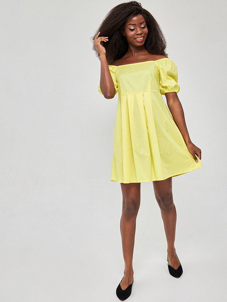 Żółta mini sukienka z bufiastymi rękawami Love&Live