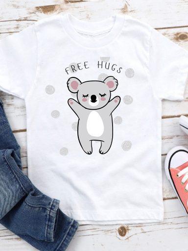 T-shirt biały dla dzieci Koala free hugs Love&Live