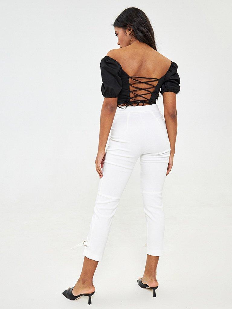Spodnie z jeansowe proste ze sznurkiem u dołu nogawki Katarina Ivanenko