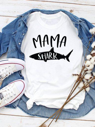 T-shirt biały Mama Shark ZUZU