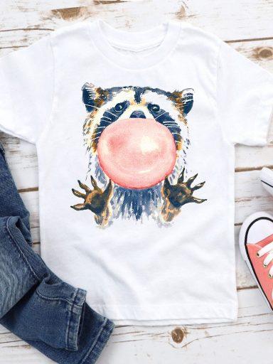 T-shirt biały dla dzieci Raccoon Love&Live