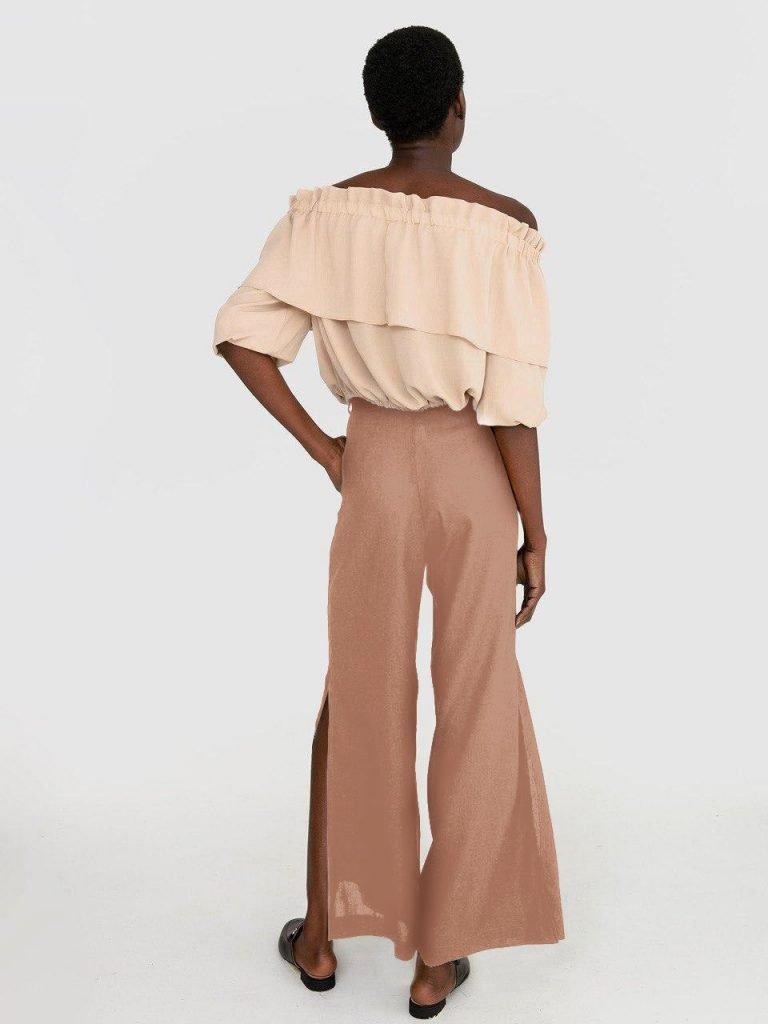 Szerokie spodnie lniane w kolorze mlecznej czekolady Katarina Ivanenko (zdjęcie 2)