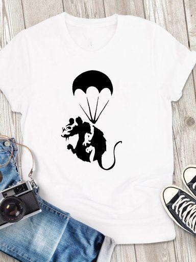 T-shirt męski biały Szczur Love&Live