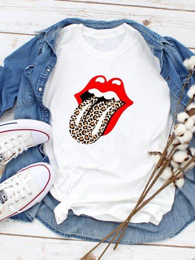 T-shirt biały Leopard tongue Love&Live