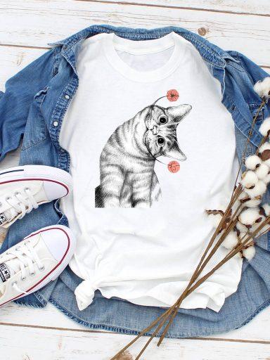 T-shirt biały Kwiatowy wąs Love&Live