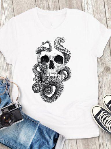 T-shirt męski biały Czaszka Love&Live