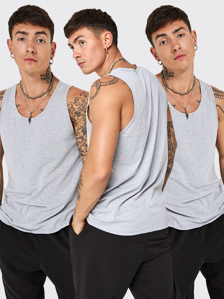 Zestaw szarych koszulek męskich 3 szt. Love&Live