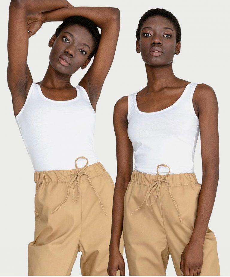 Zestaw białych koszulek na szerokich ramiączkach 2 szt. Love&Live