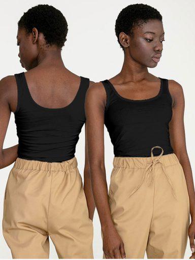 Zestaw czarnych koszulek na szerokich ramiączkach 2 szt. Love&Live