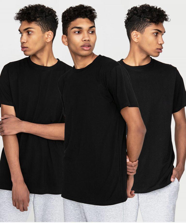 Zestaw czarnych t-shirtów męskich 3 szt. Love&Live