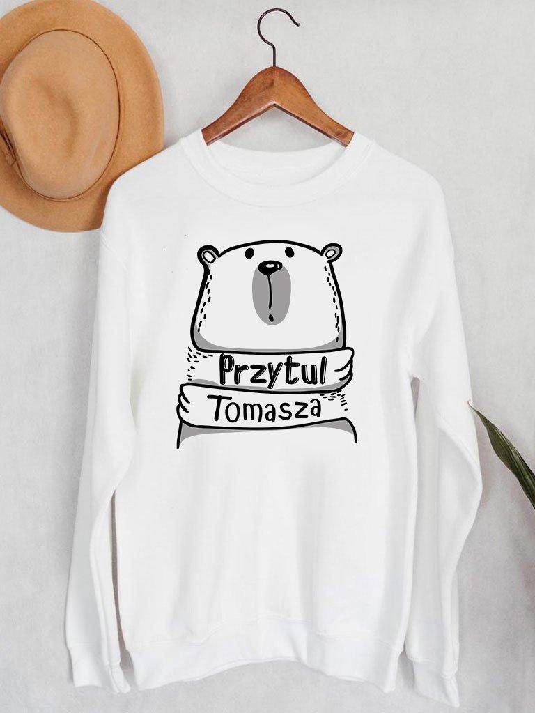 Bluza męska w kolorze białym Przytul Tomasza Love&Live
