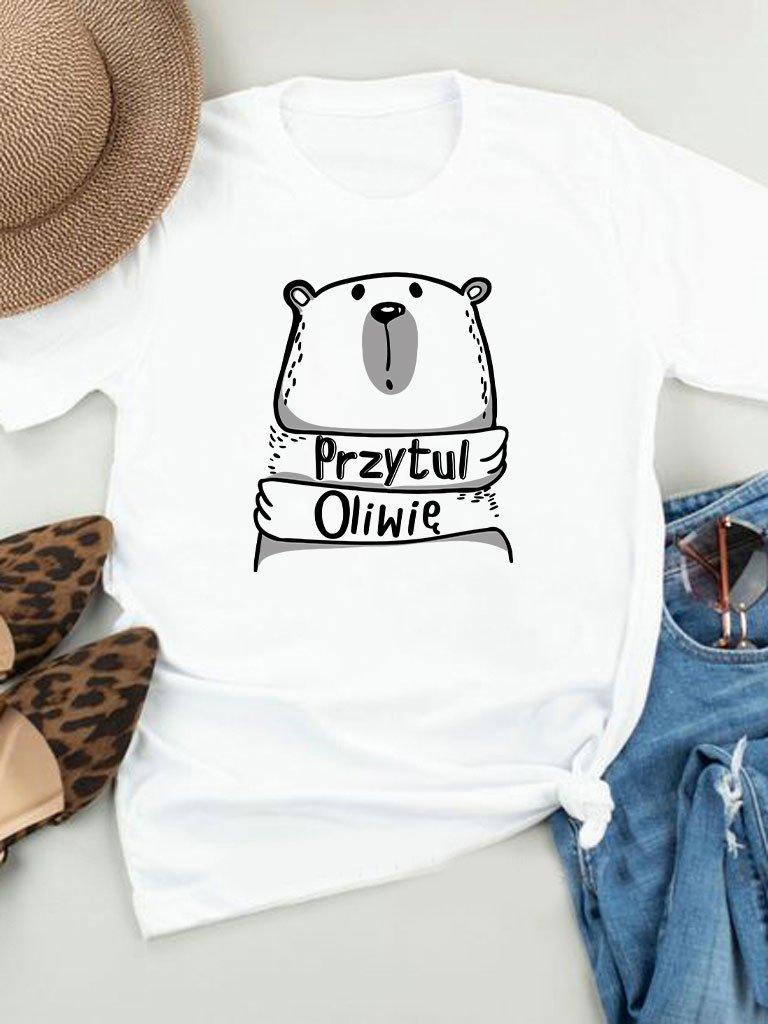 T-shirt biały Przytul Oliwię Love&Live
