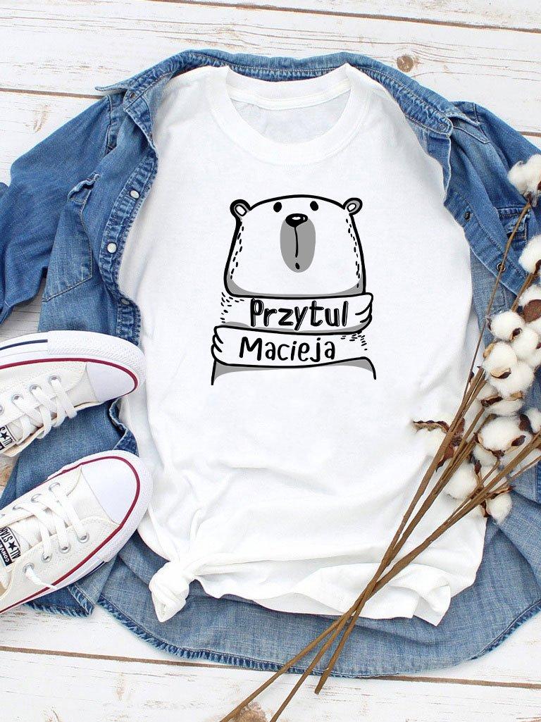 T-shirt męski biały Przytul Macieja Love&Live