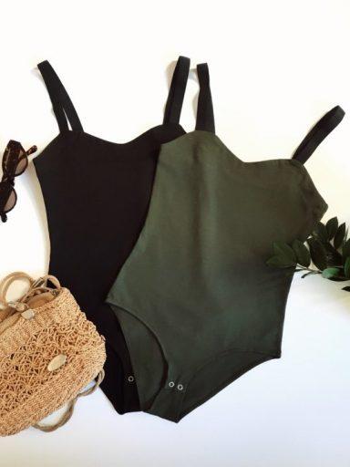 Zestaw 2 body na szerokich czarnych ramiączkach z elastycznej dzianiny (czarne, khaki) PURE