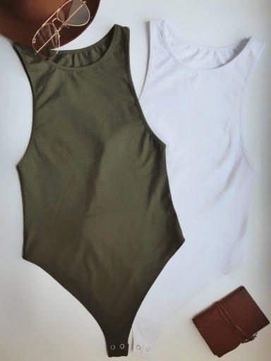 Zestaw 2 body z dekoltem typu halter (białe, khaki) PURE