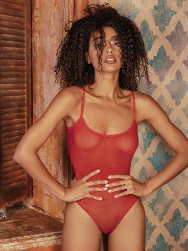 Body w kolorze czerwonym przezroczyste na cienkich ramiączkach PURE