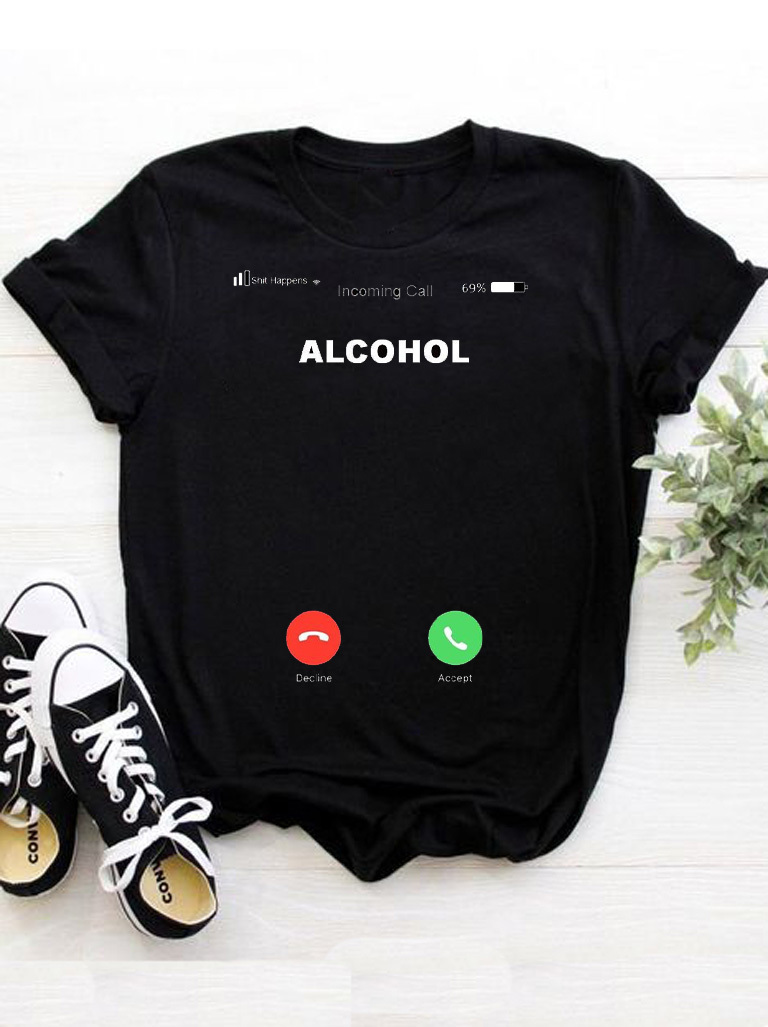 T-shirt czarny Alcohol Katarina Ivanenko