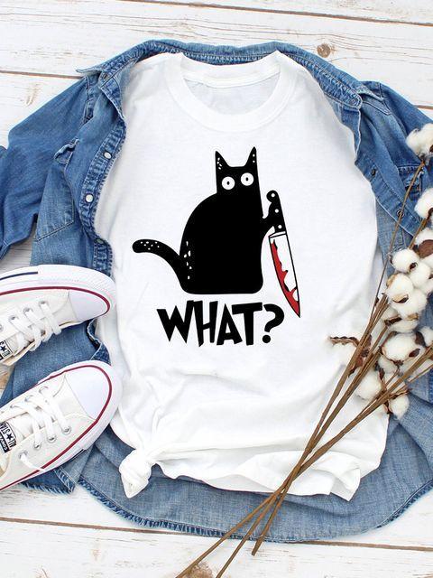 "T-shirt biały Cat says ""What?"" Love&Live"