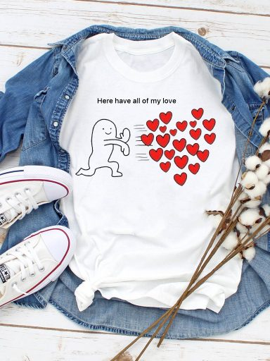 T-shirt biały Here have all of my love Love&Live