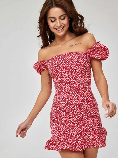 Sukienka mini czerwona w białe kwiaty z bufiastymi rękawami Love&Live