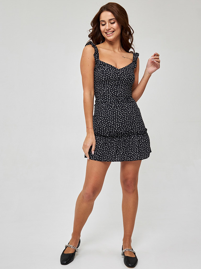Czarna mini sukienka z falbaną w grochy Love&Live (zdjęcie 3)