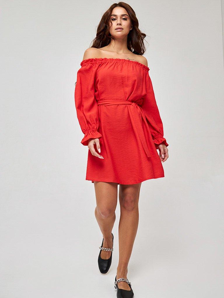 Koralowa sukienka mini z odkrytymi ramionami Katarina Ivanenko (zdjęcie 3)