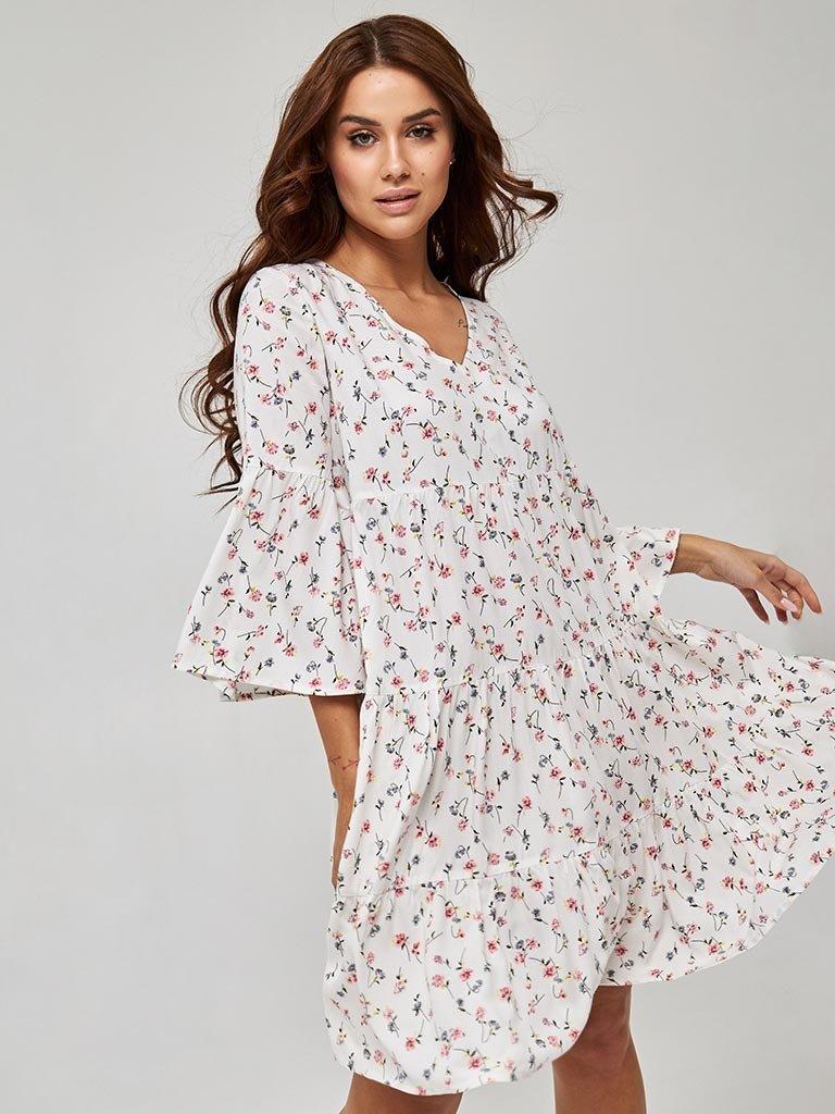 Sukienka biała mini w kwiatowy print Katarina Ivanenko