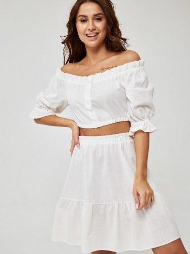 Komplet z lnu w kolorze mlecznym (top, spódnica) Katarina Ivanenko