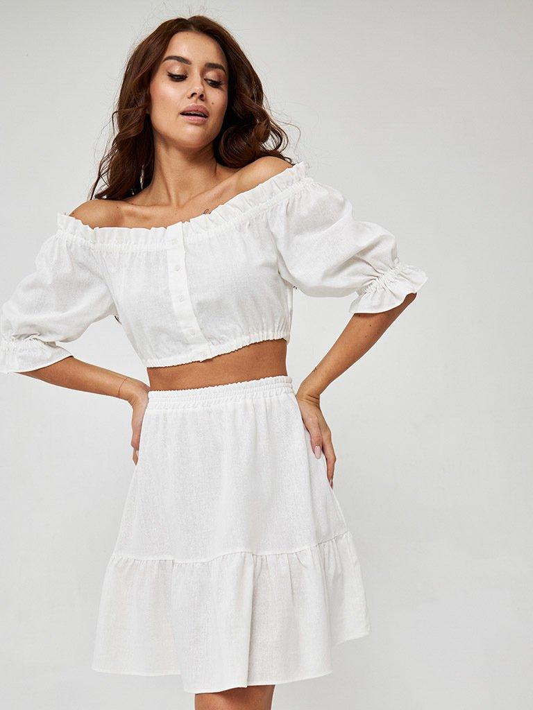 Spódnica lniana mini w kolorze mlecznym Katarina Ivanenko