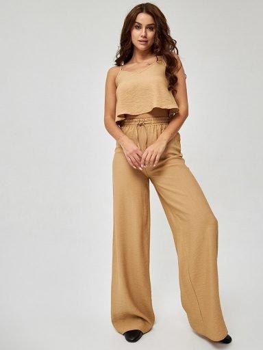 Szerokie spodnie z marszczonego lnu Katarina Ivanenko