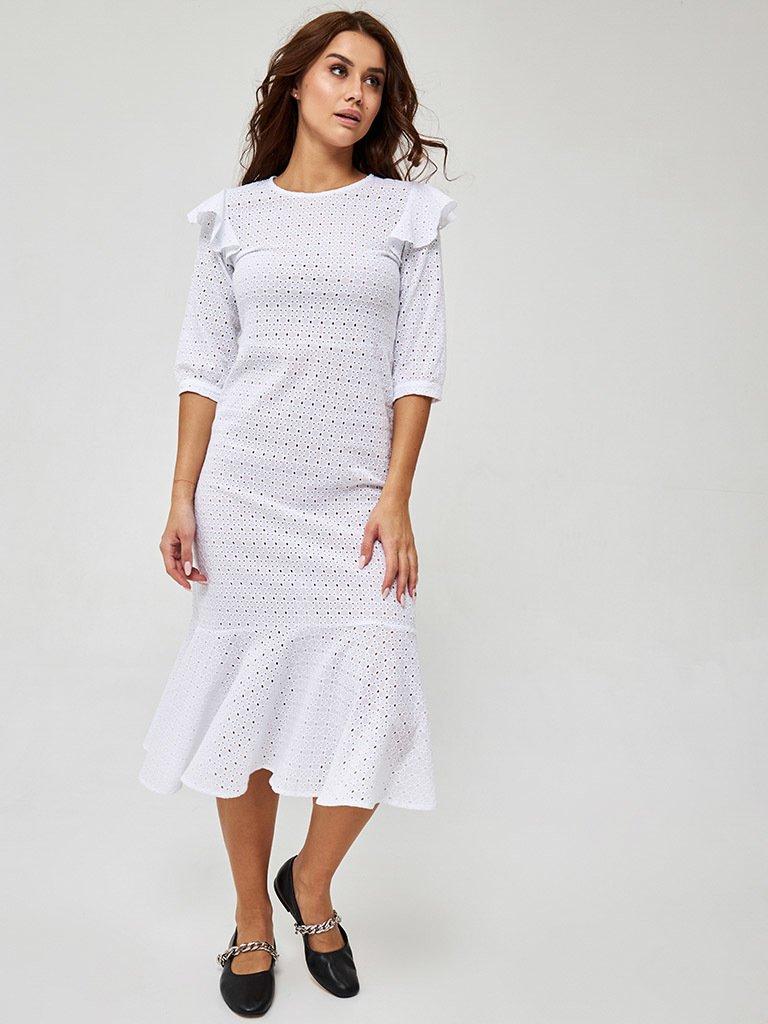 Sukienka midi w kolorze mlecznym Katarina Ivanenko (zdjęcie 2)