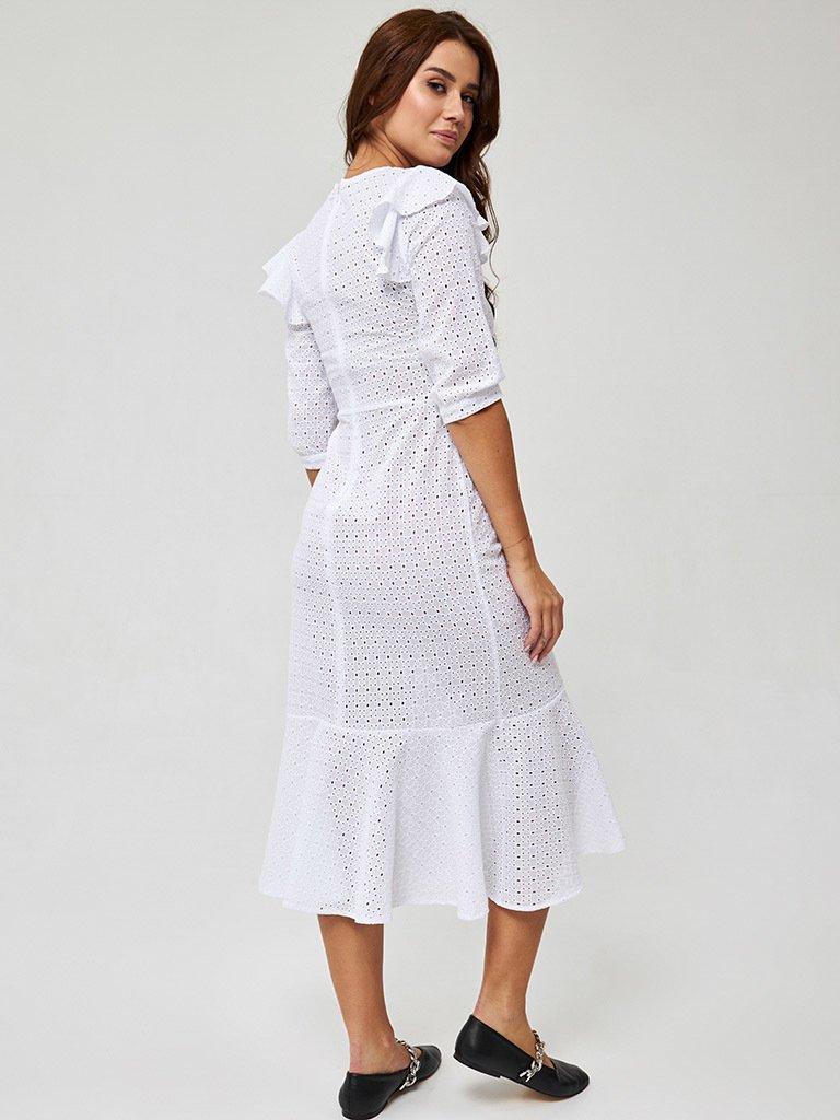 Sukienka midi w kolorze mlecznym Katarina Ivanenko (zdjęcie 4)