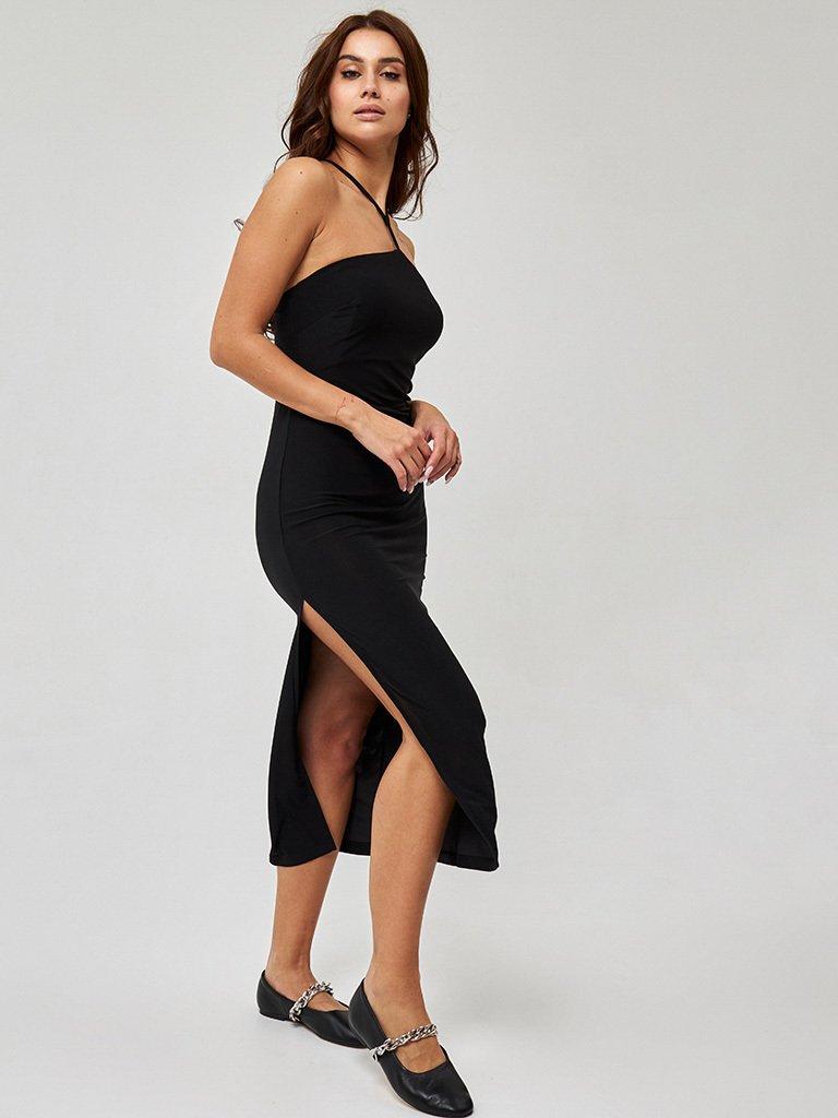 Czarna sukienka midi z oryginalnym dekoltem Katarina Ivanenko