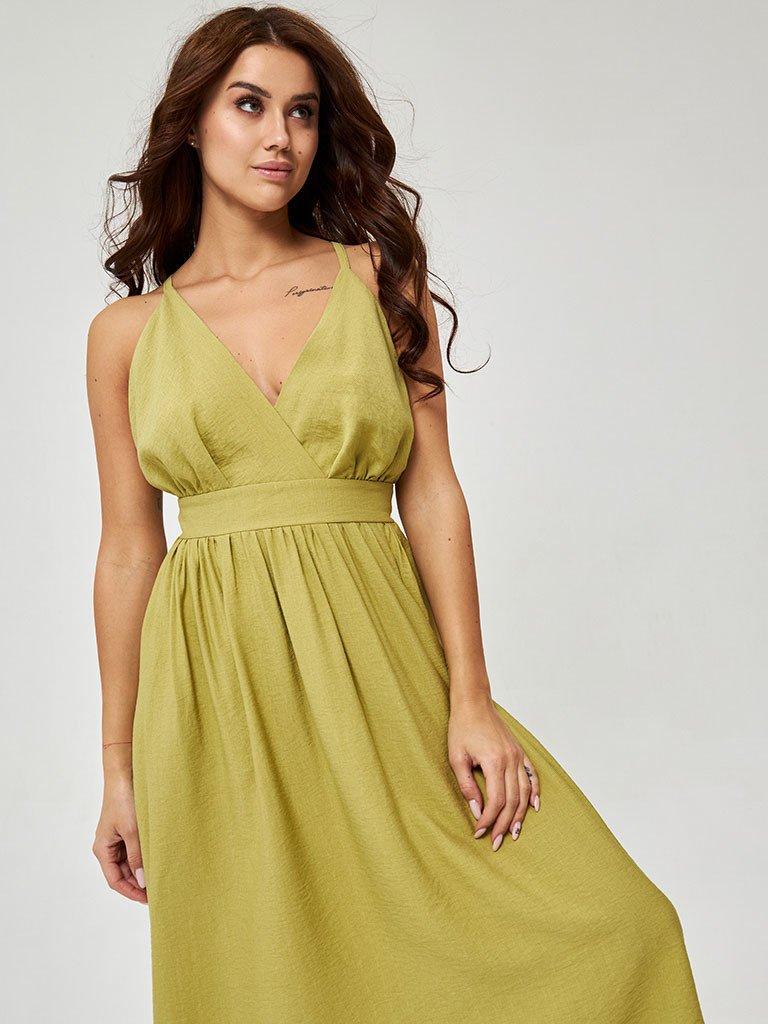 Lniana sukienka midi w kolorze oliwkowym z odkrytymi plecami Katarina Ivanenko