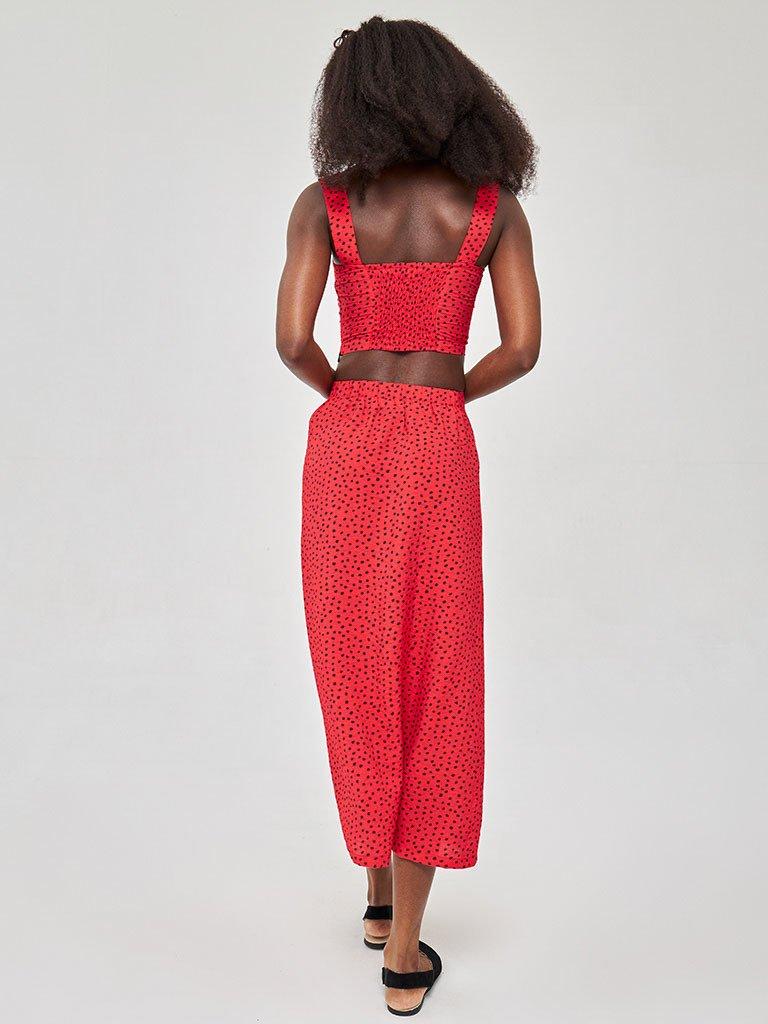 Czerwona spódnica midi w kropki z bocznym rozcięciem i guzikami Love&Live