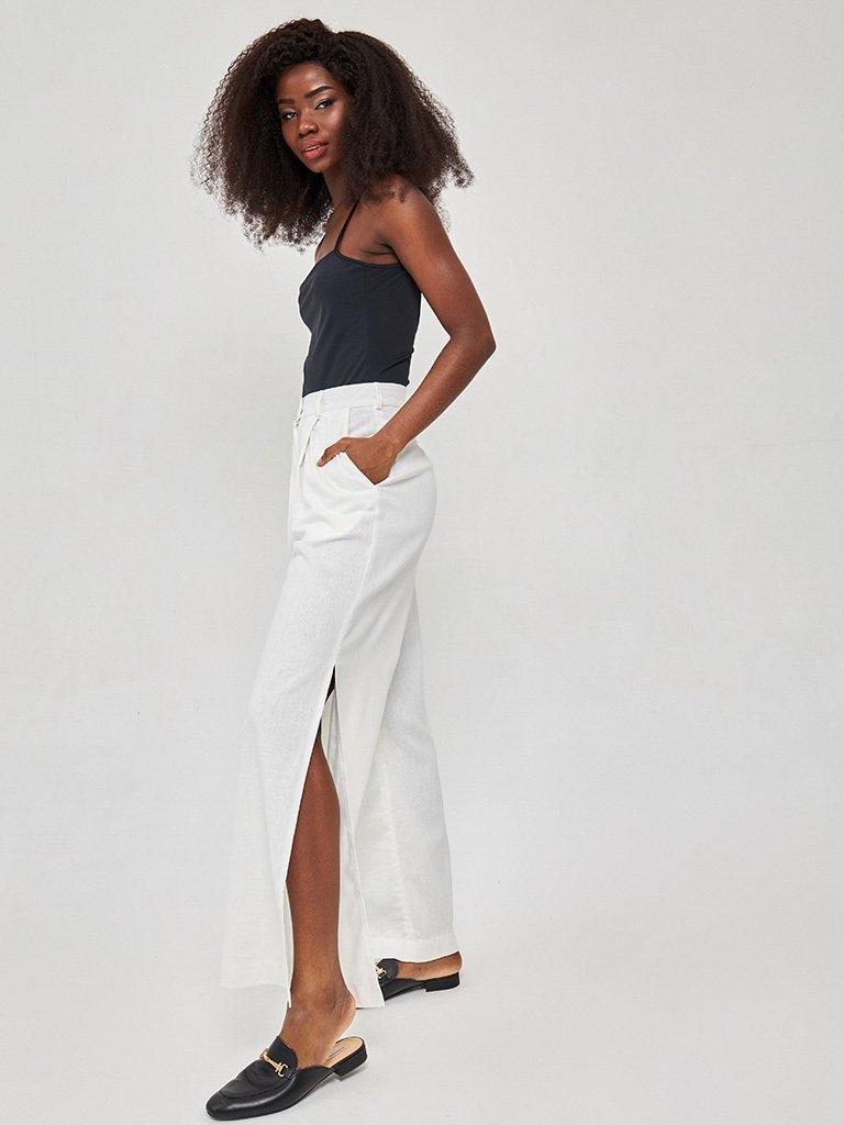 Szerokie spodnie lniane w kolorze mlecznym Katarina Ivanenko (zdjęcie 2)