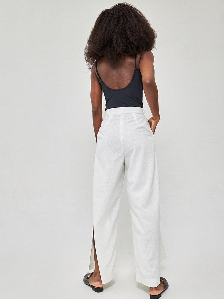 Szerokie spodnie lniane w kolorze mlecznym Katarina Ivanenko (zdjęcie 3)