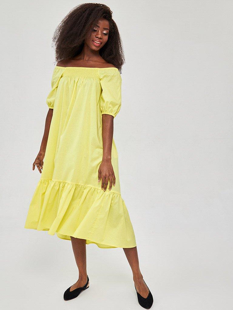 Żółta sukienka midi z bufiastymi rękawami Katarina Ivanenko