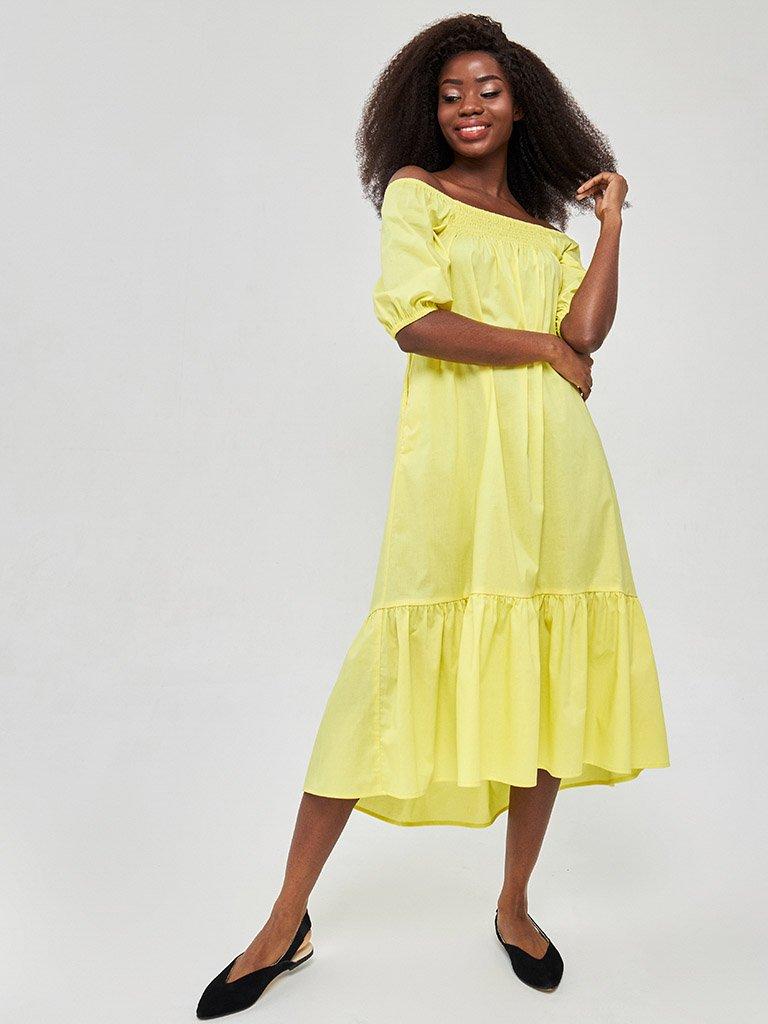 Żółta sukienka midi z bufiastymi rękawami Katarina Ivanenko (zdjęcie 2)