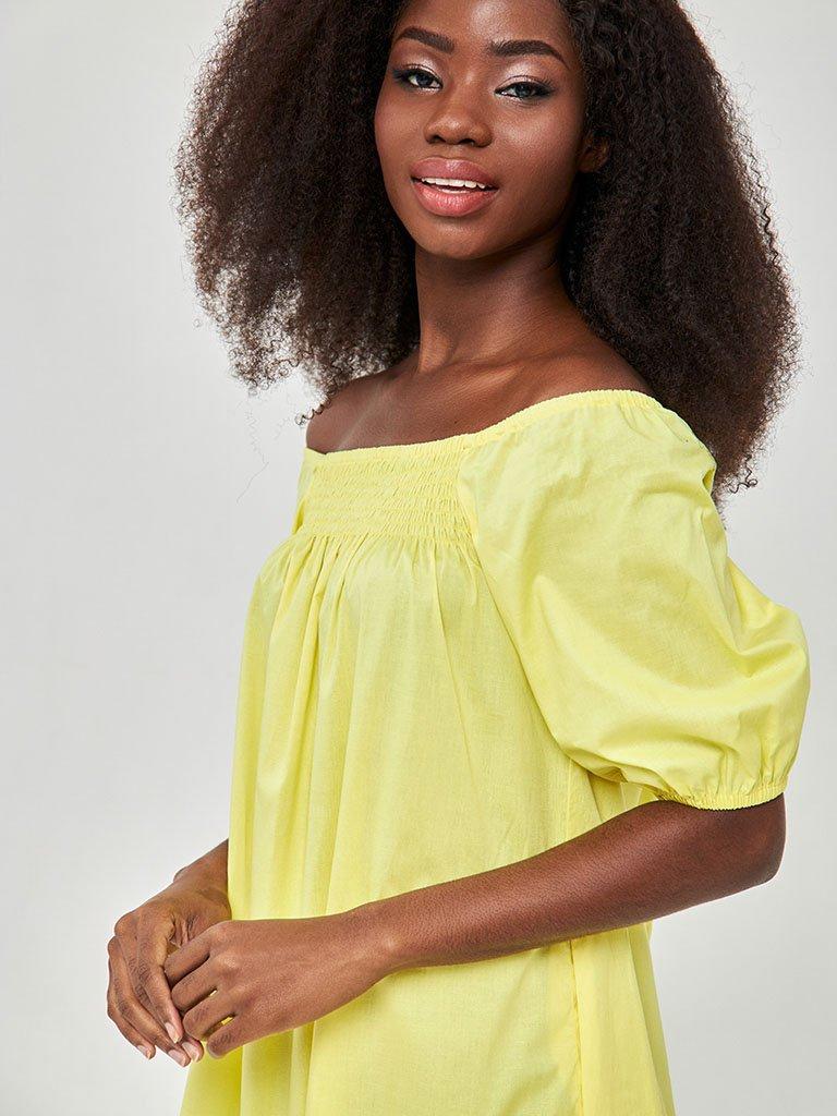 Żółta sukienka midi z bufiastymi rękawami Katarina Ivanenko (zdjęcie 3)