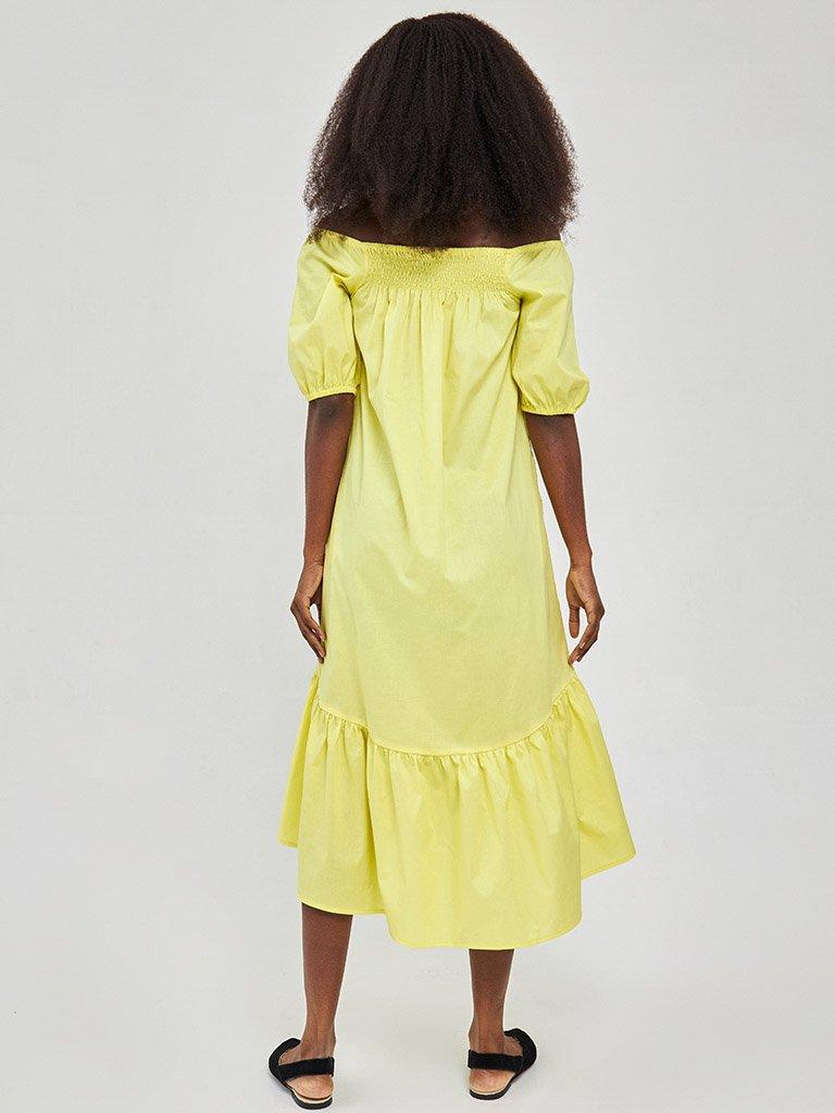 Żółta sukienka midi z bufiastymi rękawami Katarina Ivanenko (zdjęcie 4)